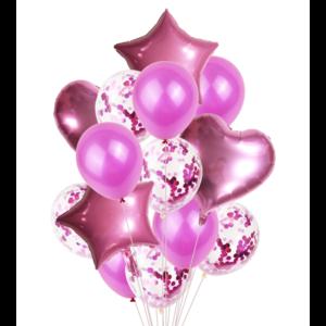 Набор Воздушных шаров Звезды и Сердце розовый (14 шт.)