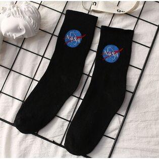 Носки Nasa лого черные высокие