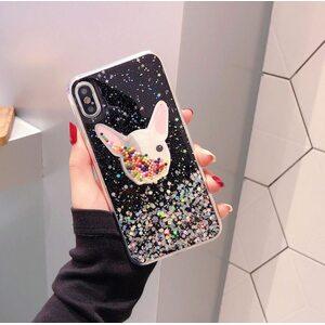 Чехол Бульдог с блестками черный iPhone X/XS
