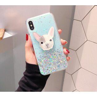 Чехол Бульдог с блестками голубой iPhone 11