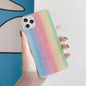 Чехол Радужный с блестками iPhone X/XS