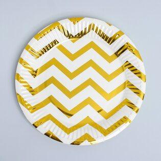 Набор Бумажных Тарелок бело-золотой (10 шт.) большие