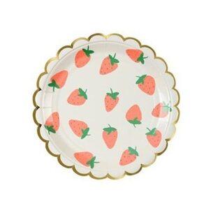 Набор Бумажных тарелок Клубника (8 шт.) большие