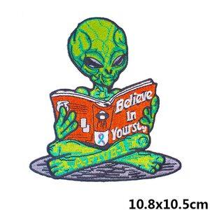 Нашивка Инопланетянин с книгой 11 см.