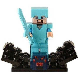 Фигурка Lepin Стив в алмазной броне с пауком: Майнкрафт (Steve: Minecraft)