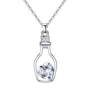 Кулон Сердце в бутылке белый