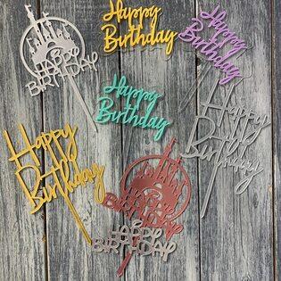 Палочка для торта Happy Birtday пластик в ассортименте