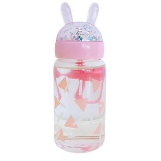 Бутылочка с ушками розовая стеклянная 350 мл.
