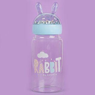 Бутылочка с ушками Rabbit стеклянная голубая 350 мл.
