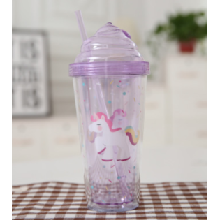 Стакан с трубочкой Единорог фиолетовый