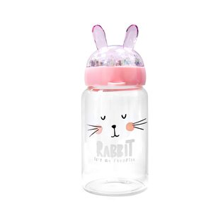 Бутылочка с ушками Rabbit стеклянная розовая 350 мл.