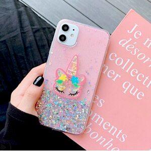 Чехол Единорог с блестками iPhone X/XS