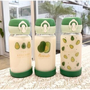 Бутылочка Авокадо стеклянная в ассортименте 350 мл.