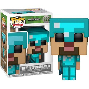 Фигурка Funko Pop Майнкрафт Стив в Бриллиантовом вооружении (Minecraft: Steve in Diamond Armor 322)