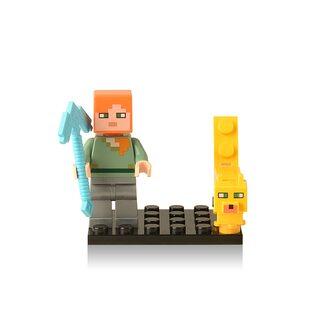 Фигурка Lepin Алекс с собакой: Майнкрафт (Alex: Minecraft)