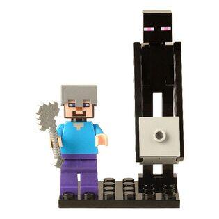 Фигурка Lepin Стив и Эндермен: Майнкрафт  (Steve and Enderman: Minecraft)