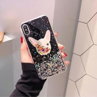 Чехол Бульдог с блестками черный iPhone 11