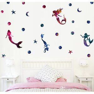 Наклейка на стену Русалка розовая 29 см